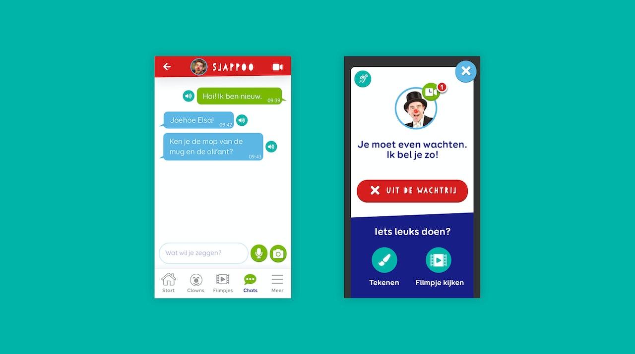 Twee ontwerpen van mobiele schermen. Een toont de chatfunctie. Een toont de wachtrij binnen de belfunctie.