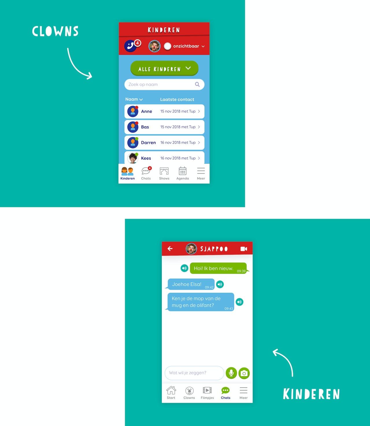 Twee ontwerpen van mobiele schermen. Een voorbeeld van de app voor de clowns. Een voorbeeld van de app voor de kinderen.