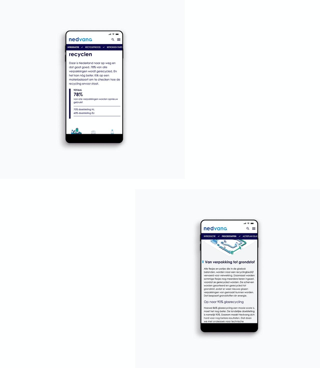 Twee telefoonschermen met afbeeldingen van de Nedvang website