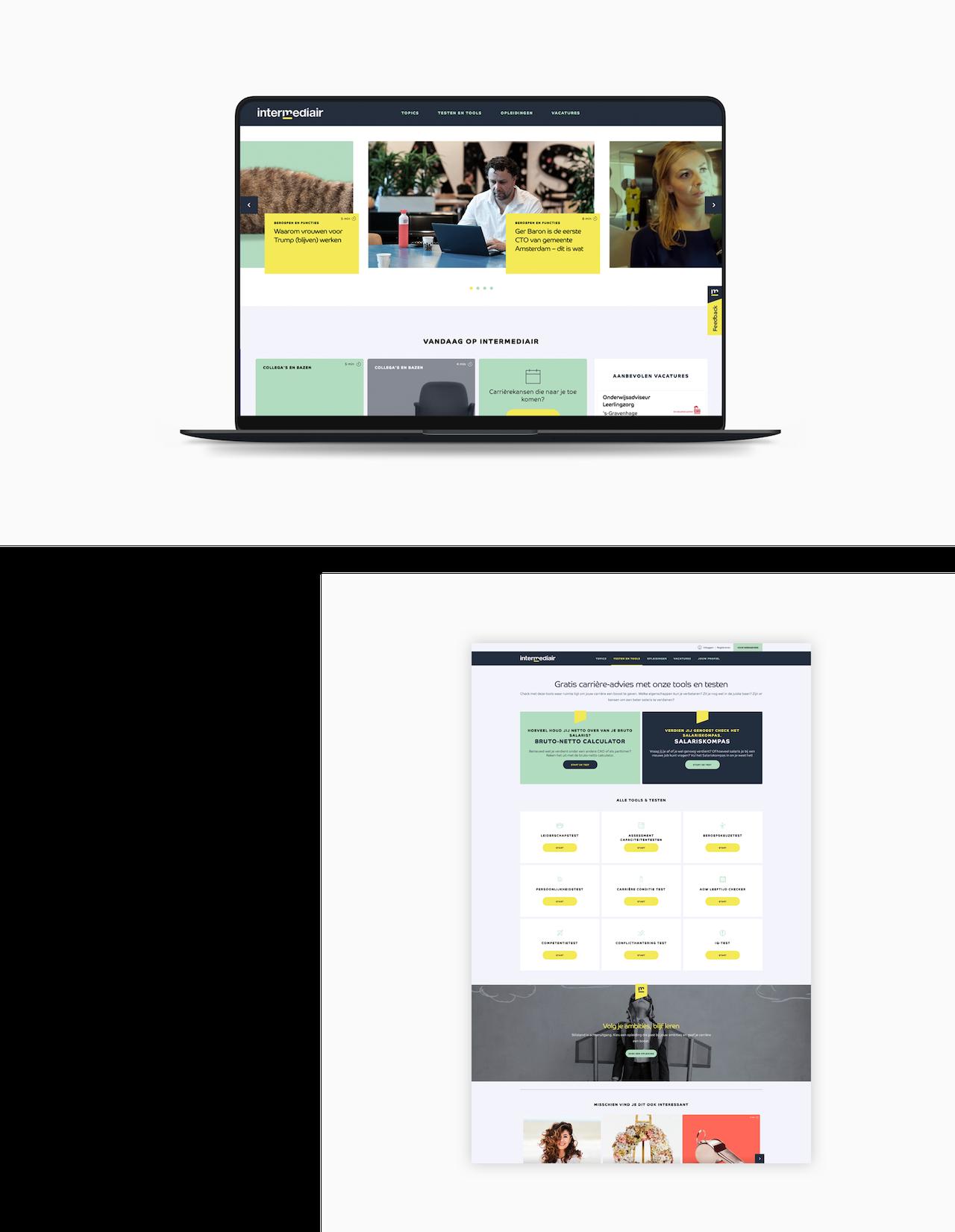 Twee desktop ontwerpen van de Intermediair website