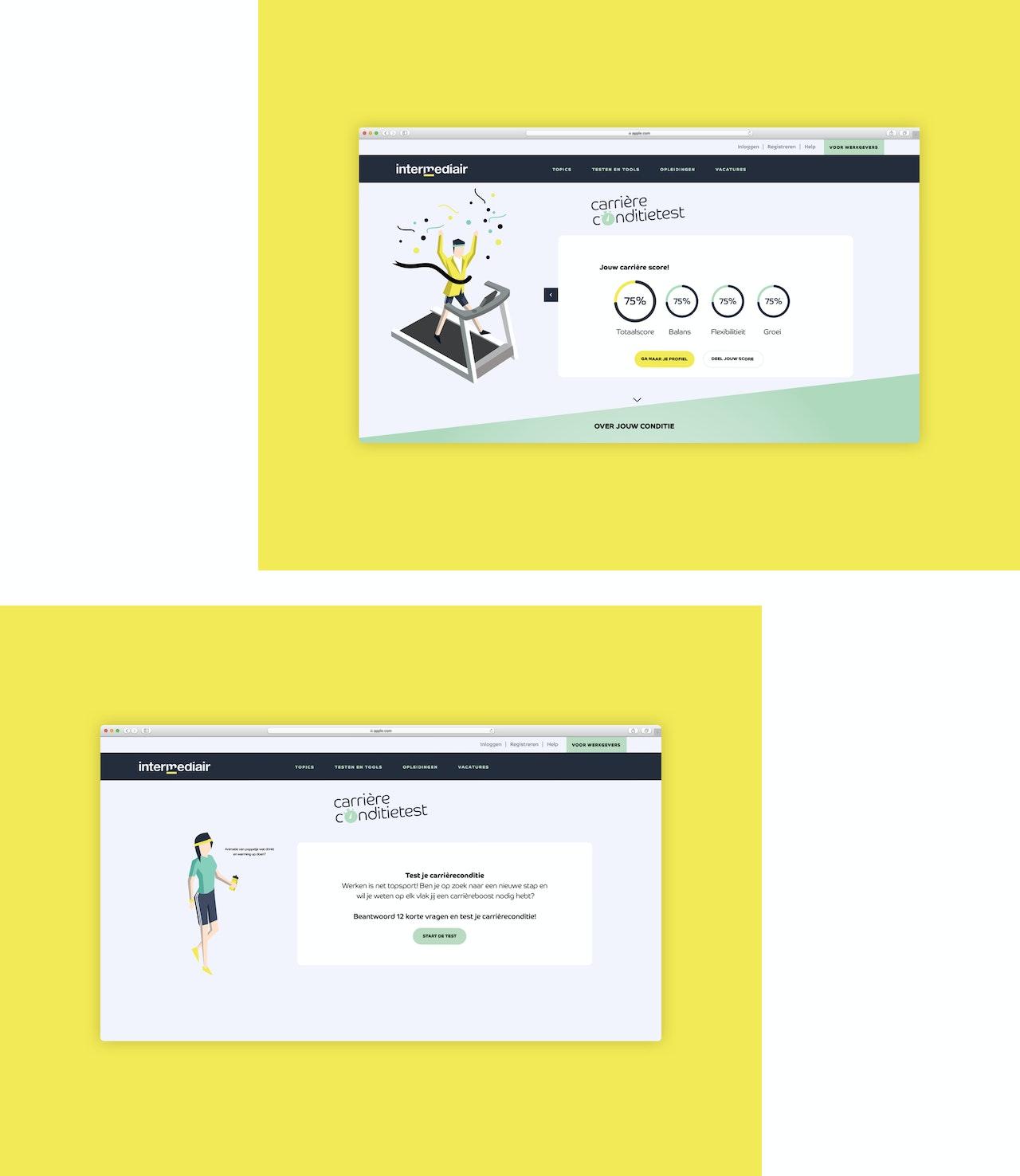 Twee desktop schermen met illustraties van de carriere conditietest van Intermediair