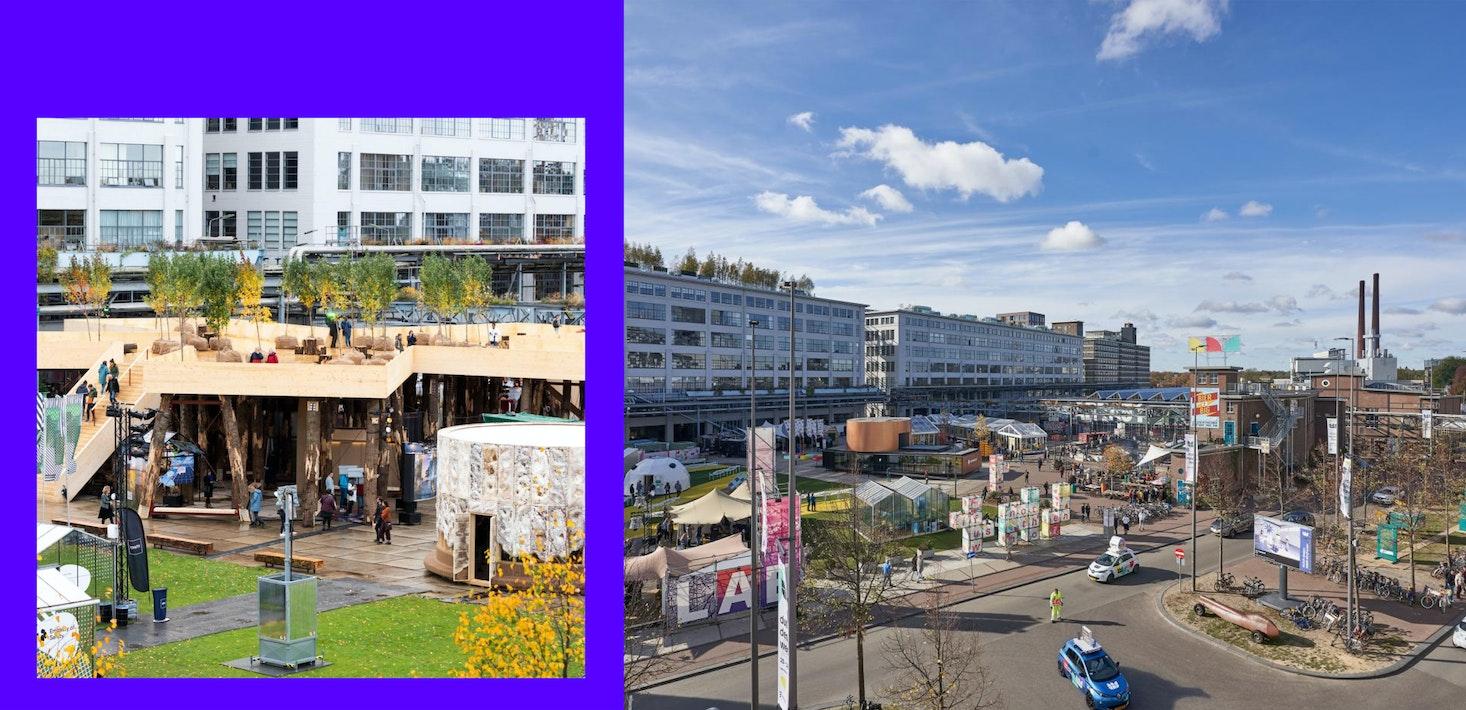 Foto's van het plein voor het Klokgebouw in Eindhoven tijdens Dutch Design Week