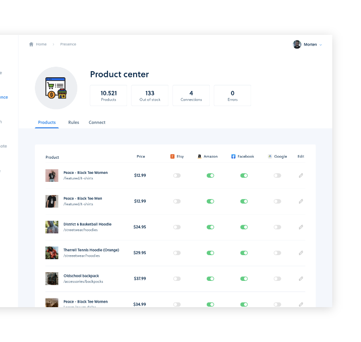 Product Center with seamless data export