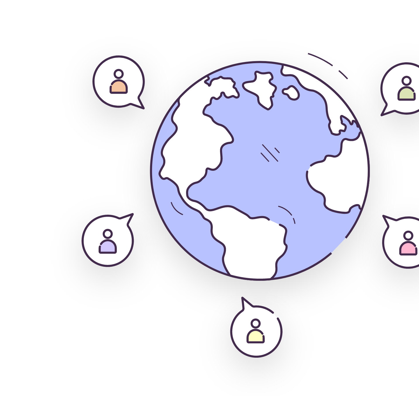 A world map with people icons dotted around it.