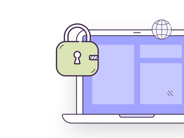 Illustration of a laptop with padlock icon next to it.