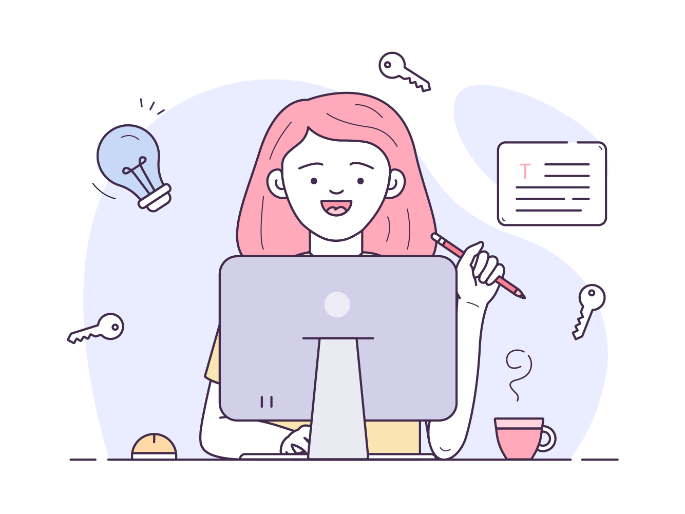 An illustration of a writer sitting in front of a computer