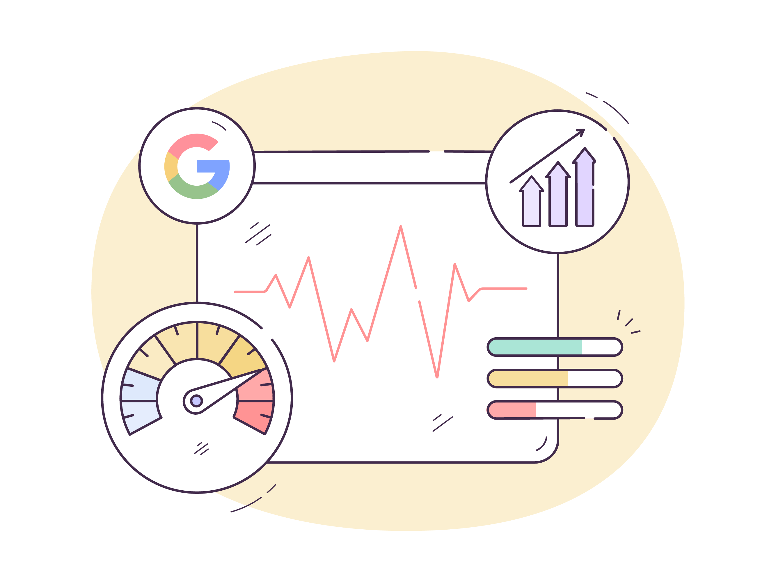 Illustration of a dashboard with various graphs dotted around it.
