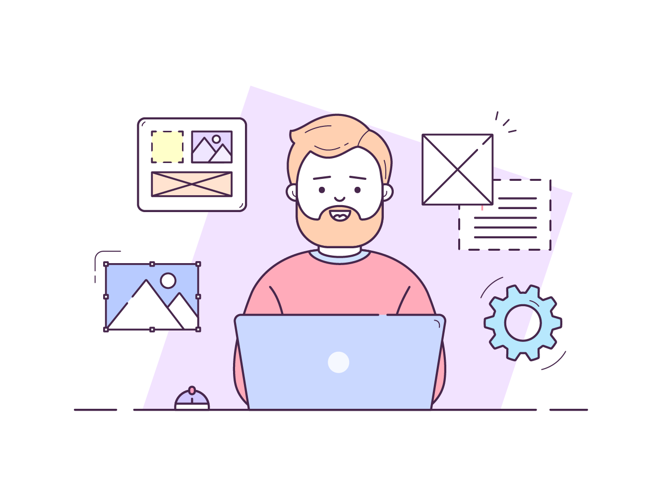 An illustration of a person sitting at a laptop working.
