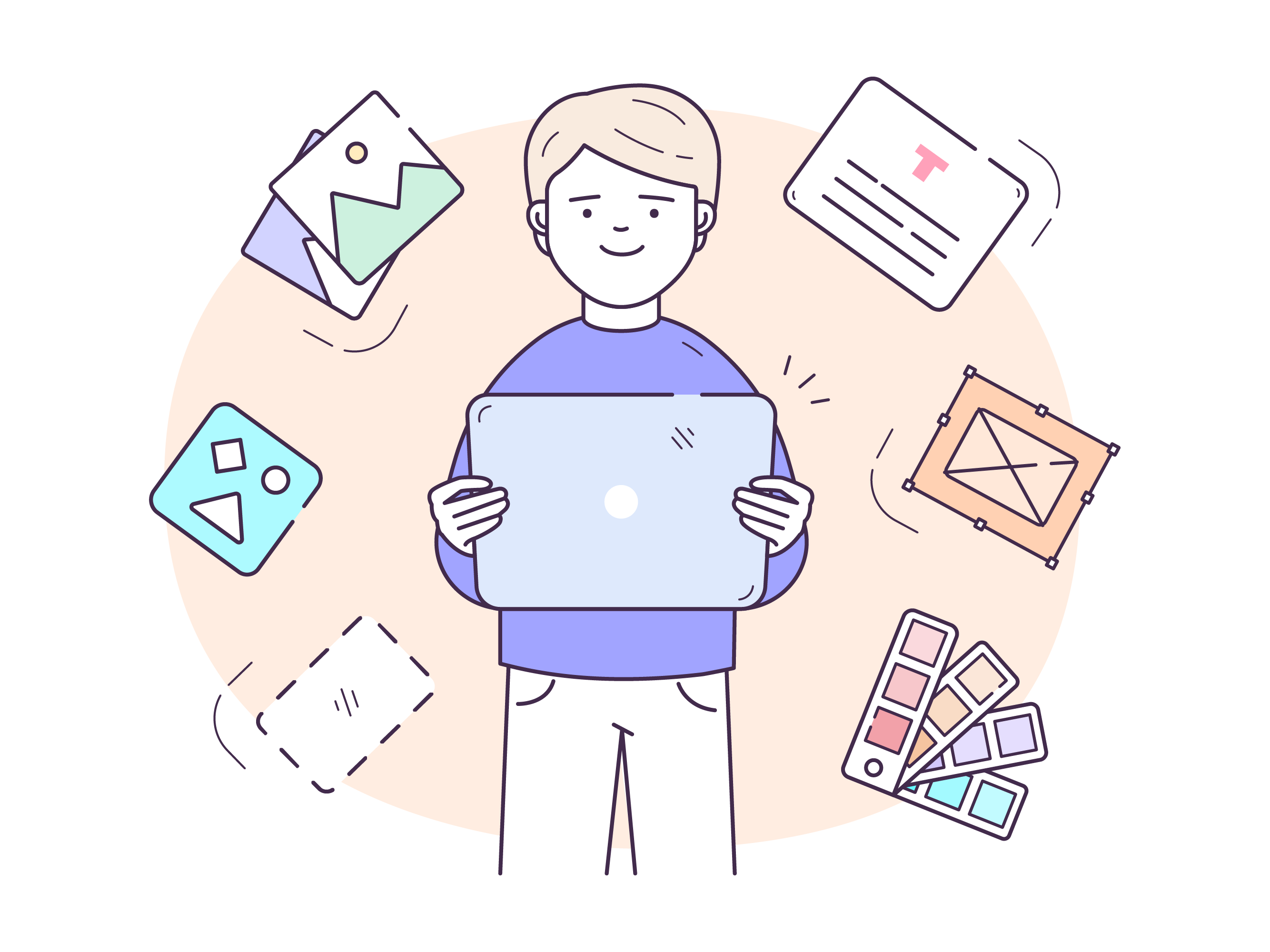 Illustration of a person holding a tablet with lots of ideas
