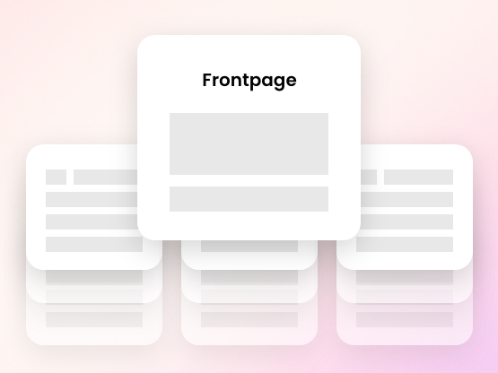 An template for a front page with other blank pages behind