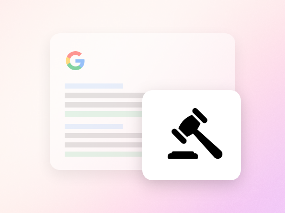 A hammer illustration with a Google mock up page in the background