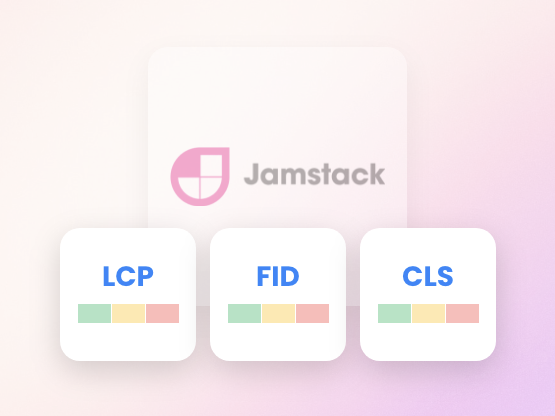 The JAMstack logo with three of the core web vital measurements
