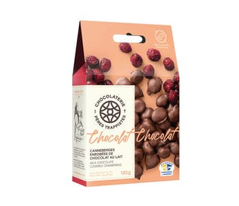 Canneberges enrobées de chocolat au lait