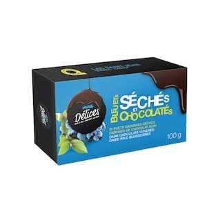 Bleuets sauvages déshydratés enrobés de chocolat noir 70% cacao