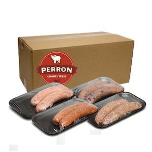 22 saucisses mixtes (bleuets tomate et basilic cheddar bacon italienne forte) congelées (2 kilos) - Perron Charcuterie