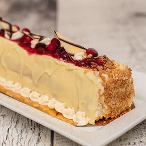 Bûche crème glacée canneberges chocolat blanc