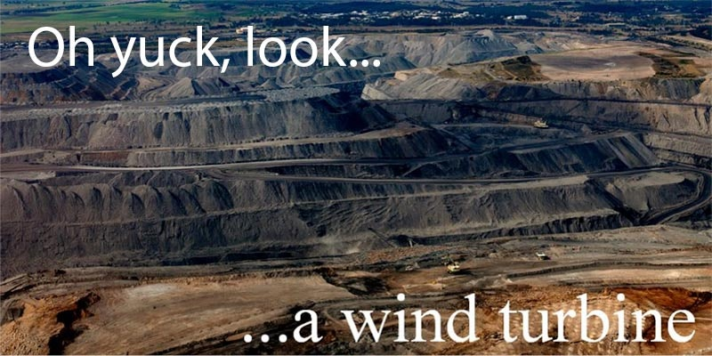 satirical banner illustration showing open cut coal mine in background vs wind turbine
