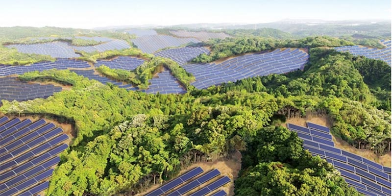 raised elevation photograph of golf course covered in solar panels