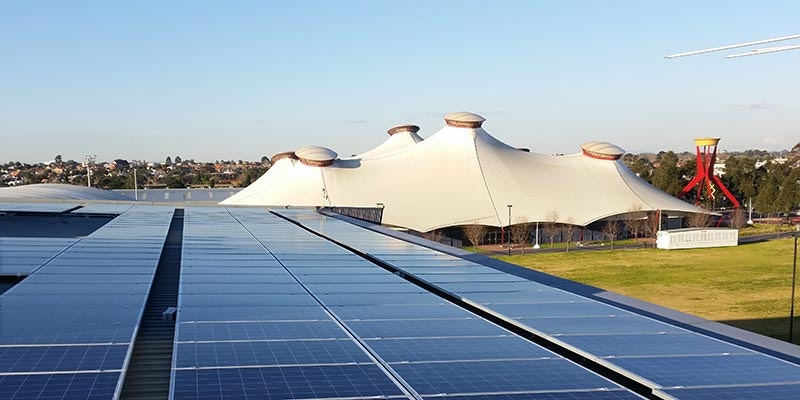 100kW solar installation at Melbourne Showgrounds