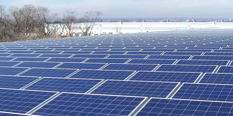 solar panels set up at ratch australia solar farm all the way into horizon