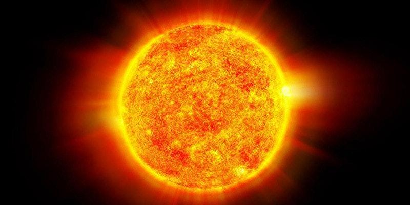 artist's impression of sun burning against black sky