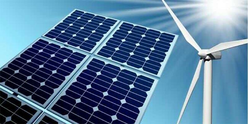photoshopped image of 4 solar panels and wind turbine against blue background
