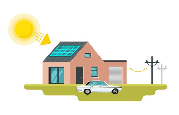 grid connected solar power illustration