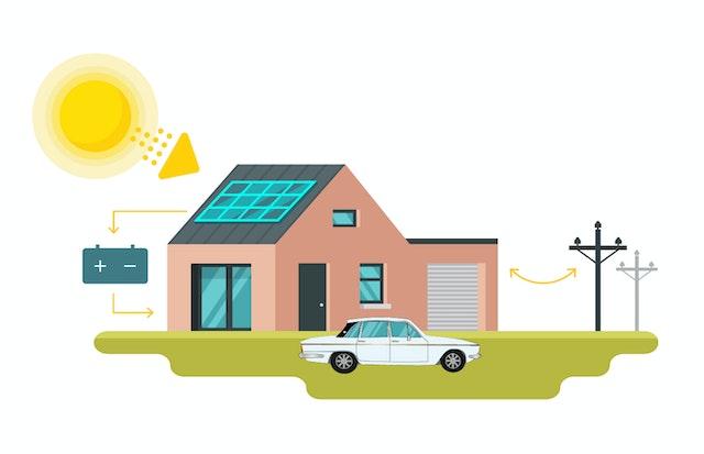 hybrid solar power illustration