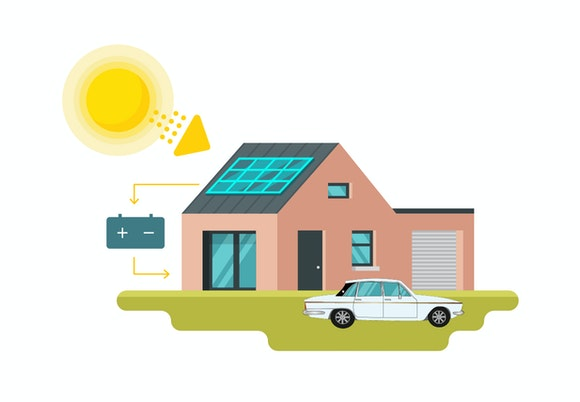off grid solar power illustration