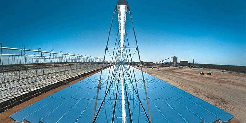solar thermal power plant in midday sun