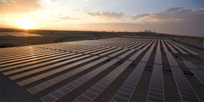 nyngan solar farm at sunset