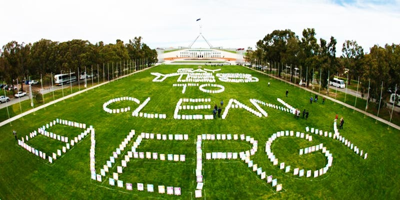 say yes to clean energy on lawn of Federal Parliament