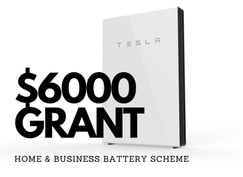 home and business battery grant overlaid on tesla powerwall