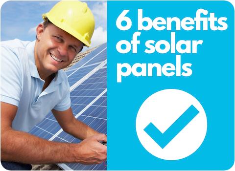 benefits of solar panels illustration next to smiling solar installer