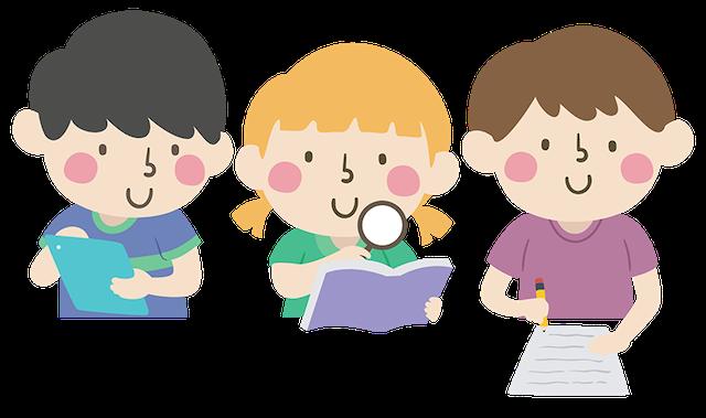 climate change kids illustration 3 children studying books