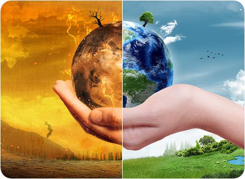 climate change illustration hand holding half burning planet half healthy planet