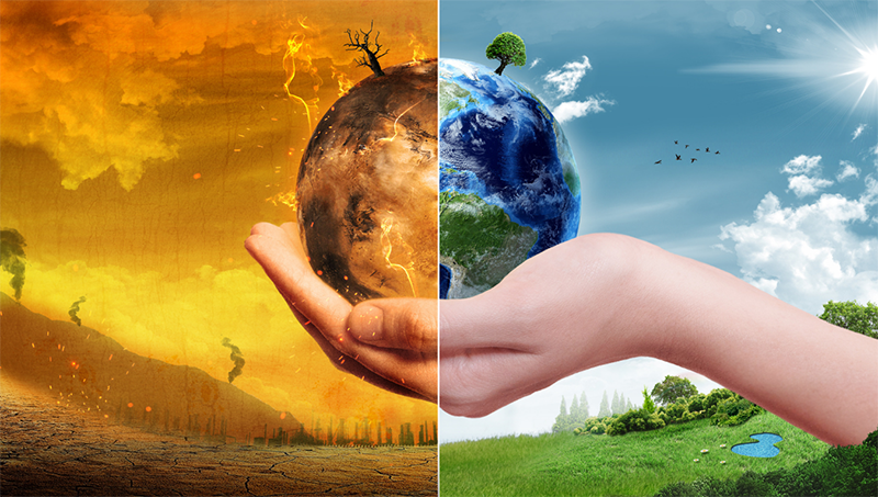 climate change illustration hand holding half burning planet half healthy planet