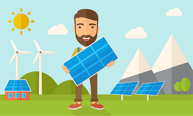 renewable energy illustration showing cartoon man holding solar panel