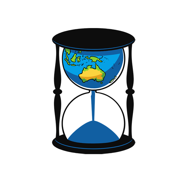 climate change egg timer icon with planet contained inside top of timer