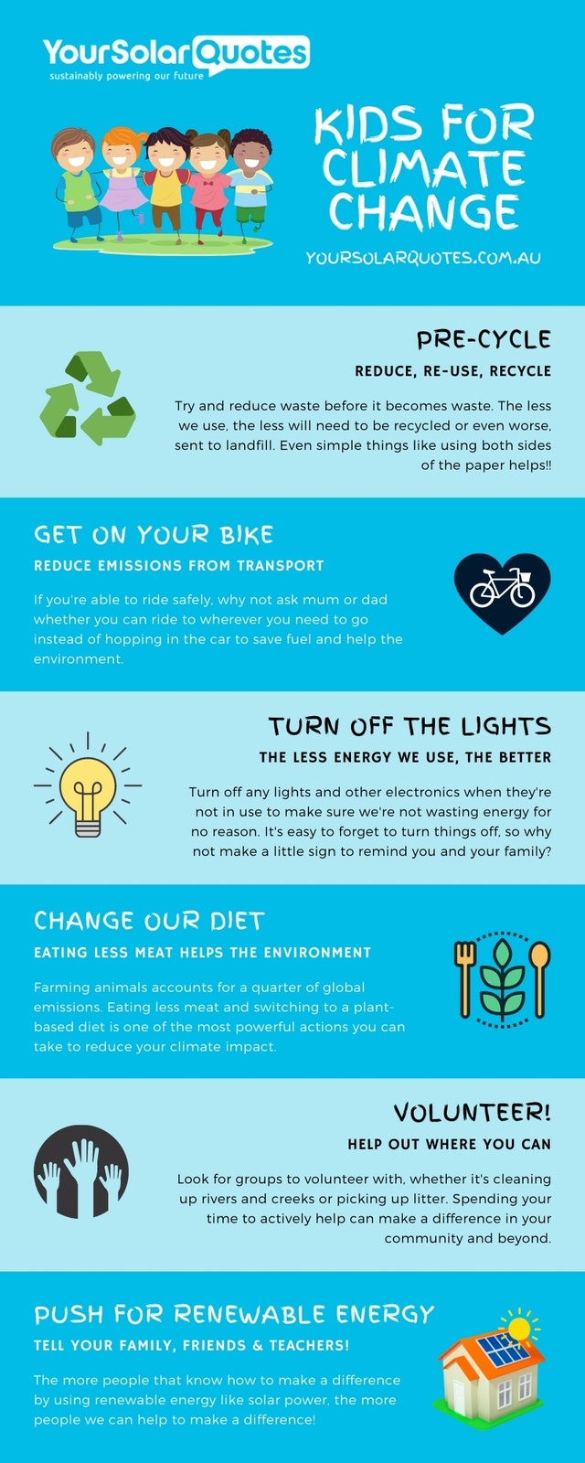 climate change kids infographic showing what we can do to stop climate change