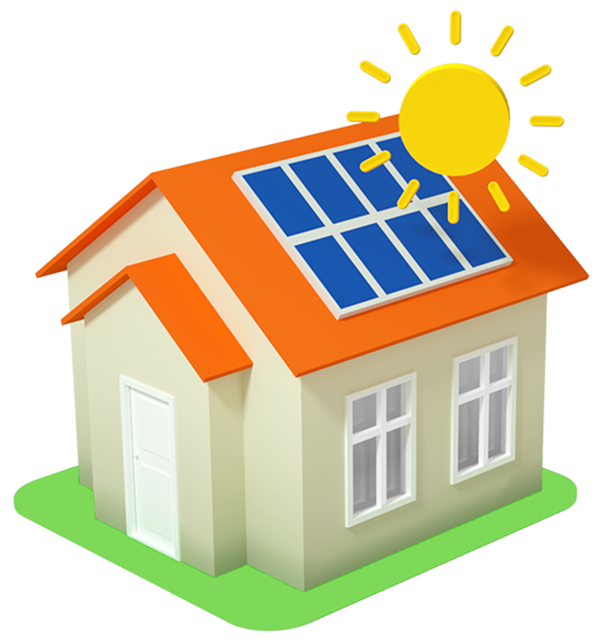 solar quotes step 3 icon house with sun and solar panels