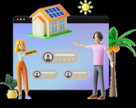 Solar Quotes people choosing solar quote illustration