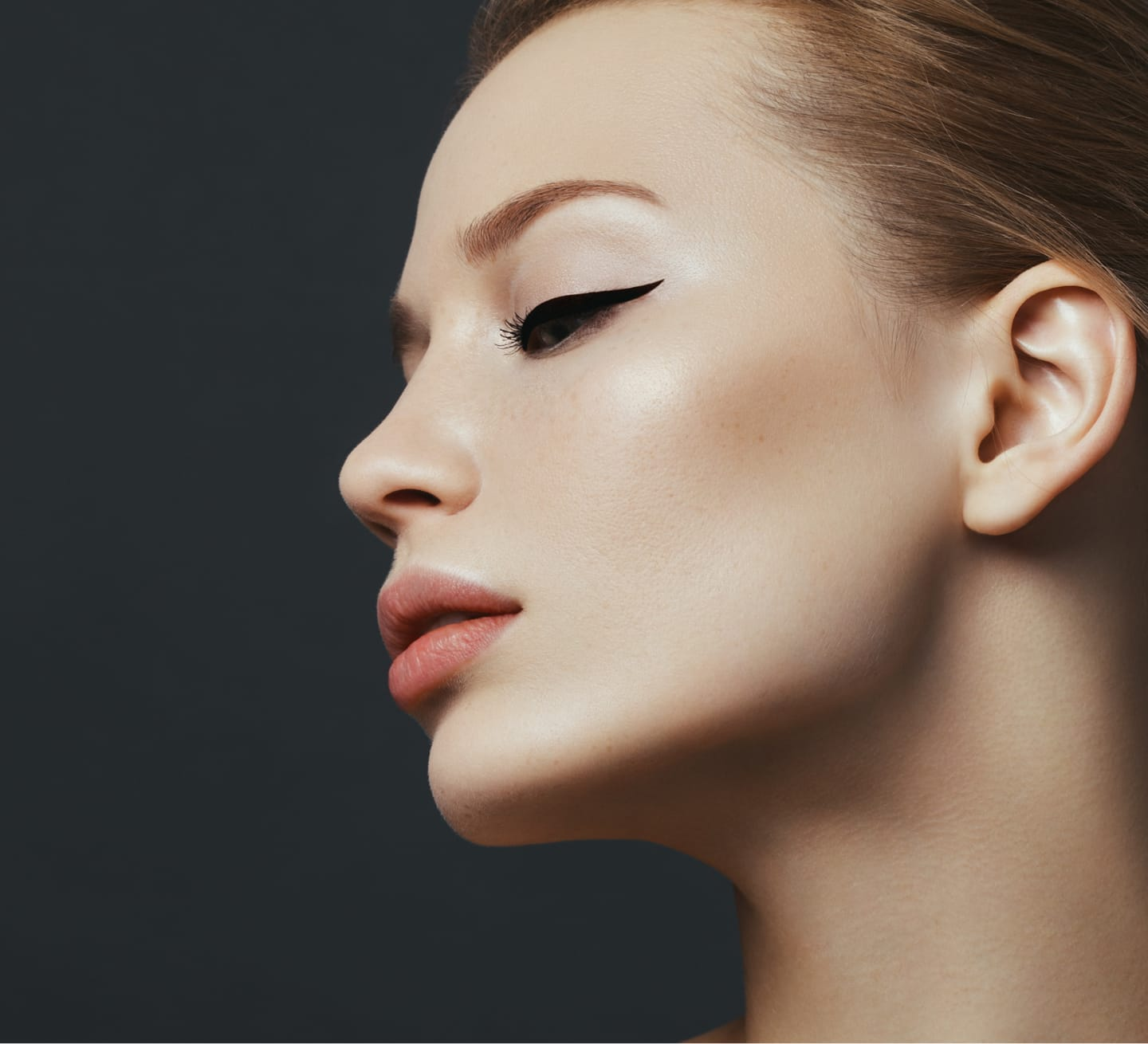 profile of model's face
