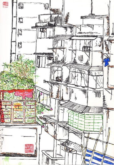 Third St (colour) sketch by Vickie Chan