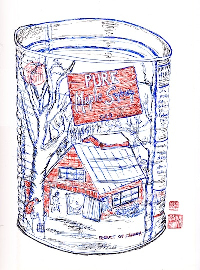 Maple Syrup ink illustration by Vickie Chan