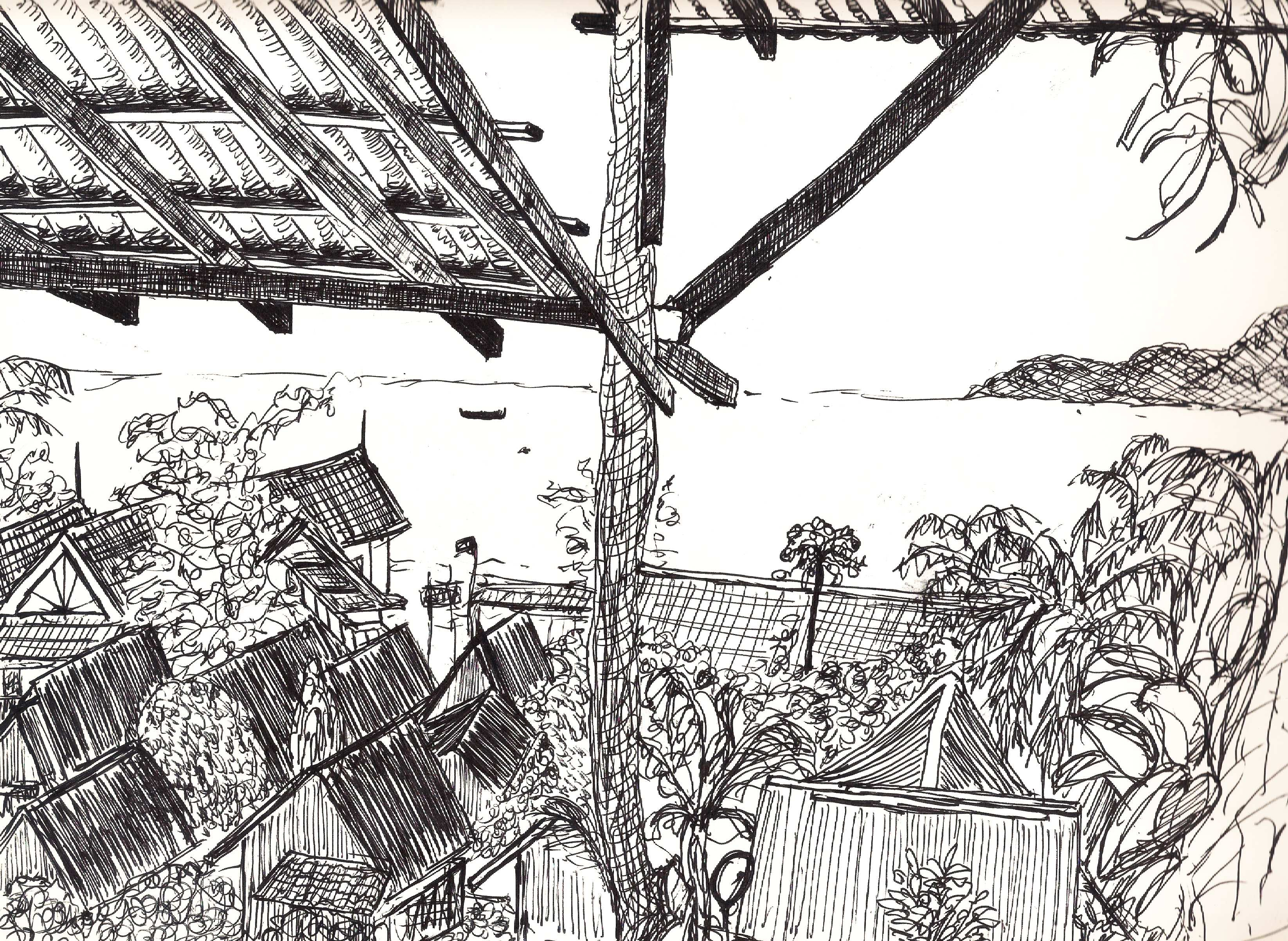 Perhentian ink sketch by Vickie Chan