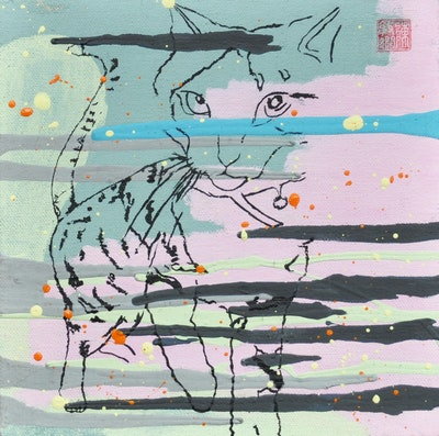 Untitled (Tigger) painting on canvas by Vickie Chan