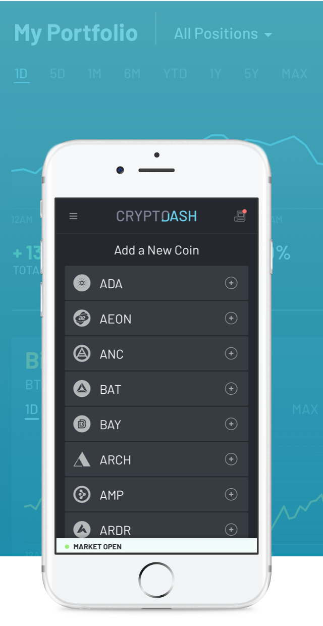 CryptoDash Tablet and Mobile Designs, with floating coin icons