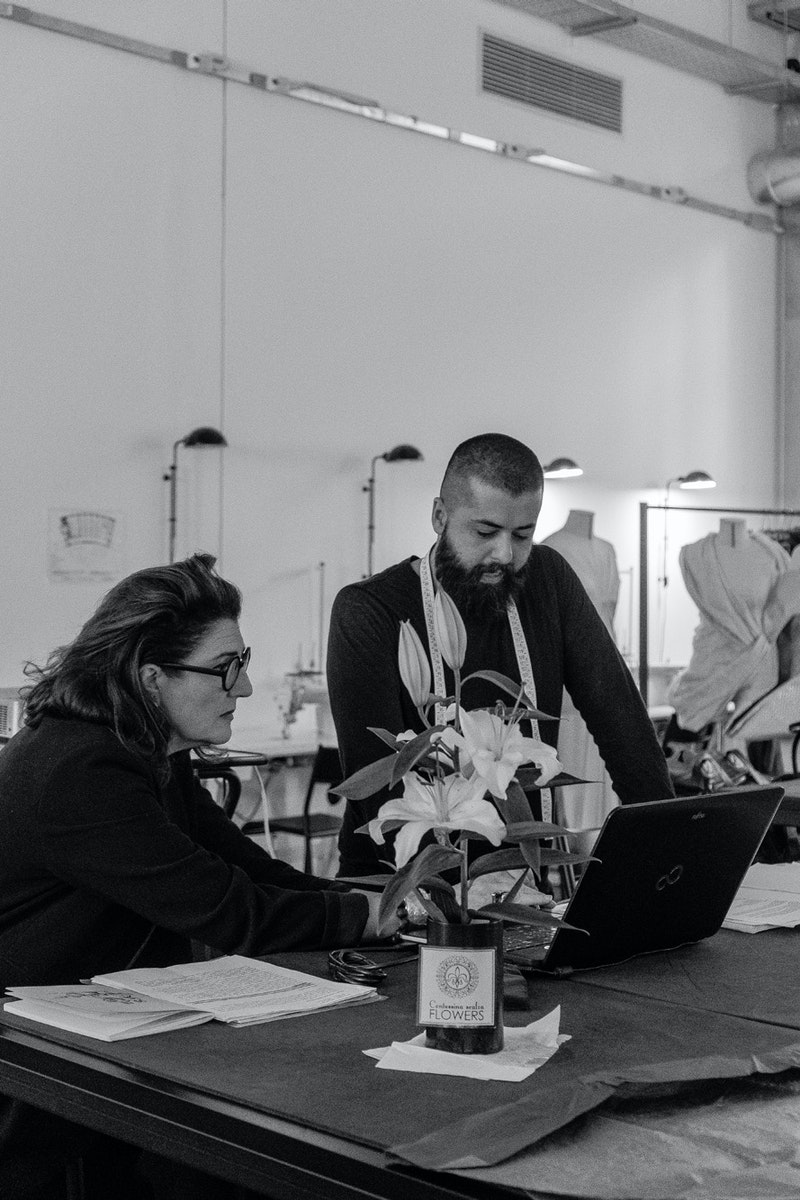 Ahmad Daher and Aurora Fiorentini during the workshop at Polimoda