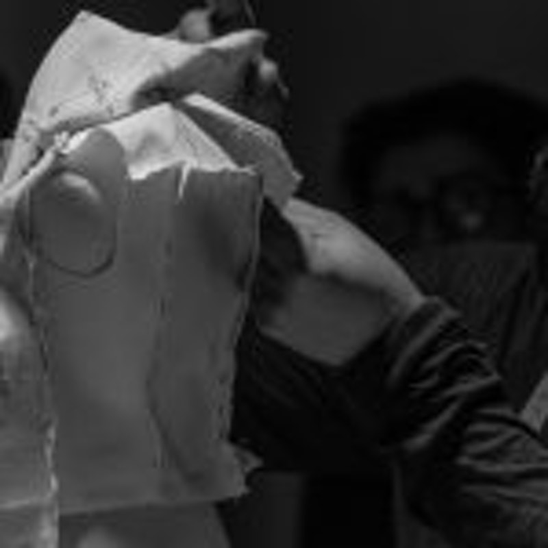 Ahmad Daher, Rick Owens' Head of Women's Patternmaking during the workshop at Polimoda
